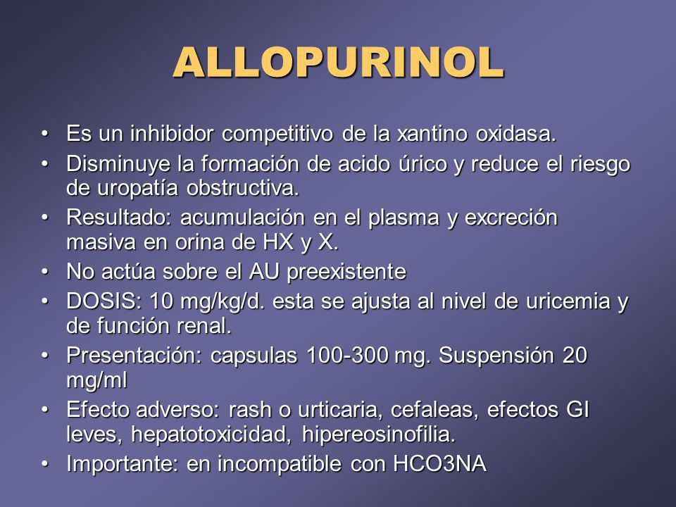 ALLOPURINOL Es un inhibidor competitivo de la xantino oxidasa.Es un inhibidor competitivo de la xantino oxidasa. Disminuye la formación de acido úrico