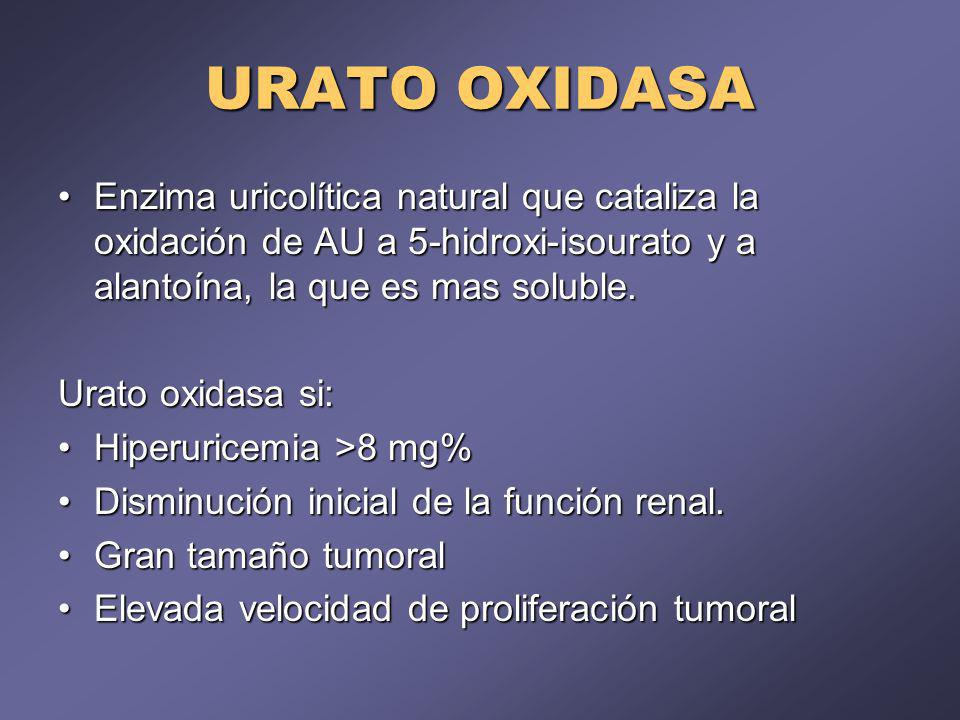 URATO OXIDASA Enzima uricolítica natural que cataliza la oxidación de AU a 5-hidroxi-isourato y a alantoína, la que es mas soluble.Enzima uricolítica natural que cataliza la oxidación de AU a 5-hidroxi-isourato y a alantoína, la que es mas soluble.