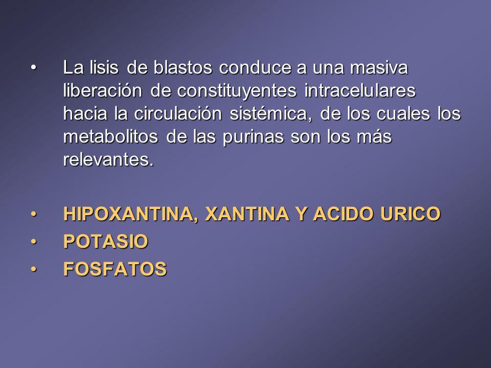 La lisis de blastos conduce a una masiva liberación de constituyentes intracelulares hacia la circulación sistémica, de los cuales los metabolitos de