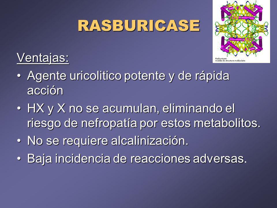 RASBURICASE Ventajas: Agente uricolitico potente y de rápida acciónAgente uricolitico potente y de rápida acción HX y X no se acumulan, eliminando el riesgo de nefropatía por estos metabolitos.HX y X no se acumulan, eliminando el riesgo de nefropatía por estos metabolitos.