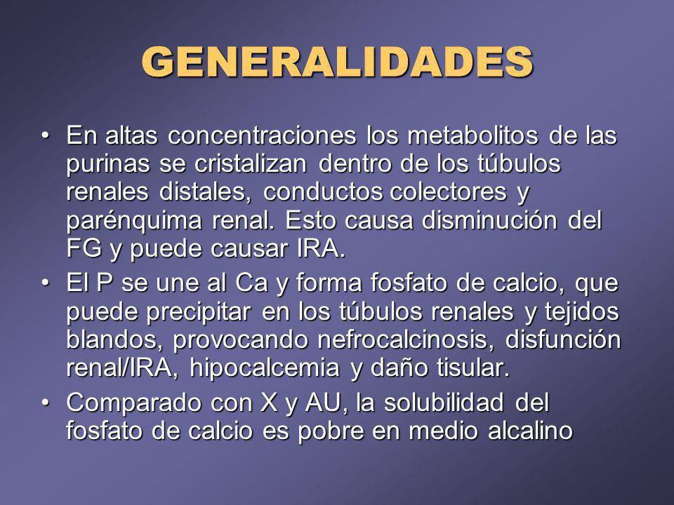 GENERALIDADES En altas concentraciones los metabolitos de las purinas se cristalizan dentro de los túbulos renales distales, conductos colectores y parénquima renal.