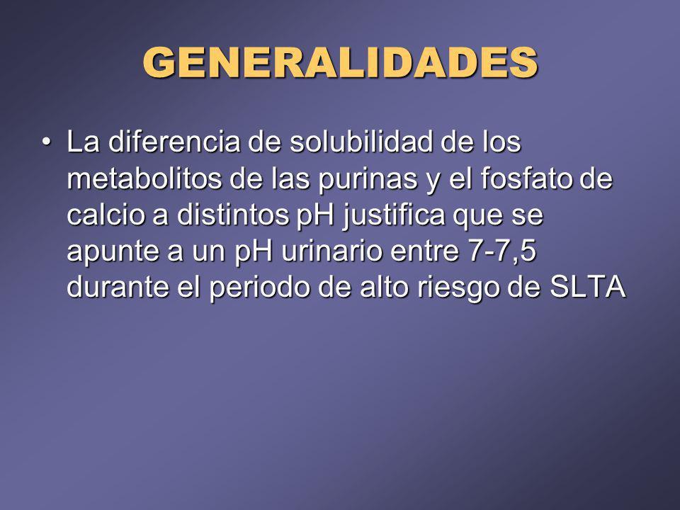 GENERALIDADES La diferencia de solubilidad de los metabolitos de las purinas y el fosfato de calcio a distintos pH justifica que se apunte a un pH uri