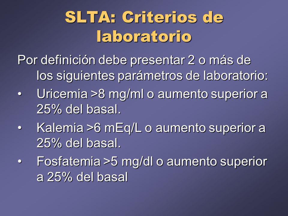 SLTA: Criterios de laboratorio Por definición debe presentar 2 o más de los siguientes parámetros de laboratorio: Uricemia >8 mg/ml o aumento superior a 25% del basal.Uricemia >8 mg/ml o aumento superior a 25% del basal.