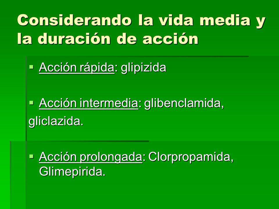 FARMACO METABOLIS MO METABOLI TOS VIA DE ELIMINACION VIDA MEDIA(H) CLORPROPAMI DA HEPATICOACTIVOS RENAL 80-90% 36 h GLIBENCLAMI DA HEPATICOACTIVOS REN