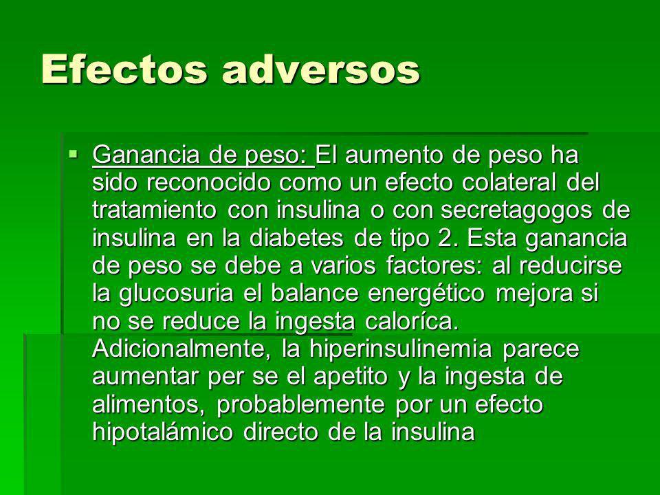 Efectos adversos Efectos adversos - Hipoglucemia: puede producirse con cualquier sulfonilurea a cualquier dosis, aunque raramente es grave. Generalmen