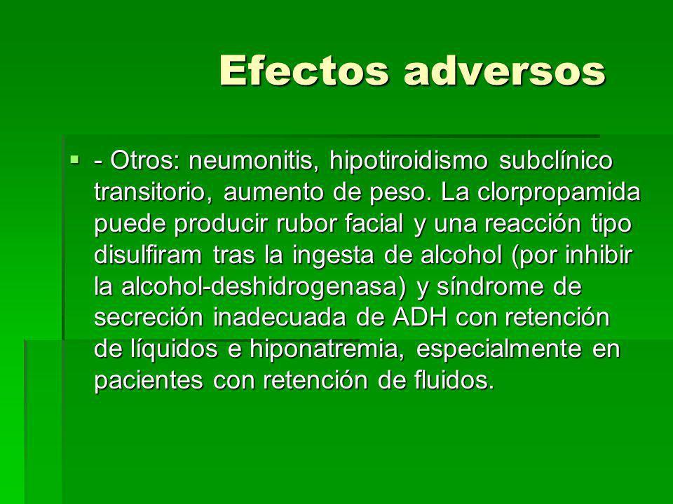 Efectos adversos Efectos adversos Digestivos: nauseas, vómitos, ardor epigástrico, estreñimiento o diarrea, sabor metálico. Digestivos: nauseas, vómit