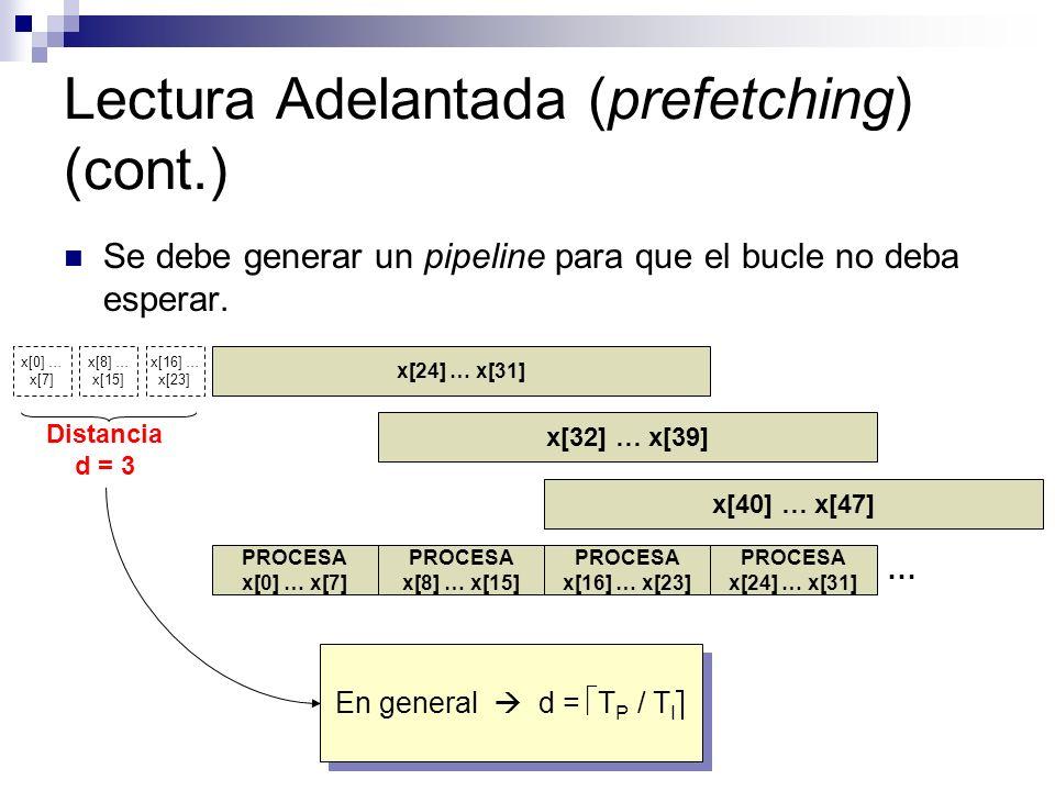 Lectura Adelantada (prefetching) (cont.) Se debe generar un pipeline para que el bucle no deba esperar. x[24] … x[31] PROCESA x[0] … x[7] PROCESA x[8]