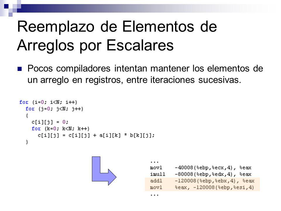 Reemplazo de Elementos de Arreglos por Escalares Pocos compiladores intentan mantener los elementos de un arreglo en registros, entre iteraciones suce