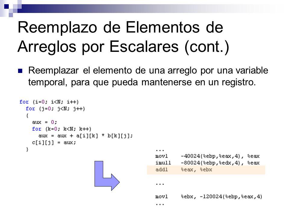 Reemplazo de Elementos de Arreglos por Escalares (cont.) Reemplazar el elemento de una arreglo por una variable temporal, para que pueda mantenerse en