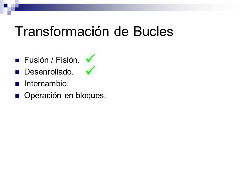 Transformación de Bucles Fusión / Fisión. Desenrollado. Intercambio. Operación en bloques.