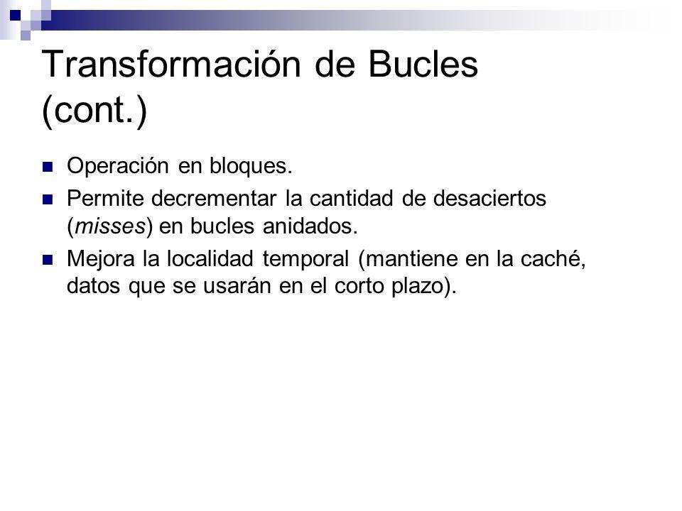 Transformación de Bucles (cont.) Operación en bloques. Permite decrementar la cantidad de desaciertos (misses) en bucles anidados. Mejora la localidad