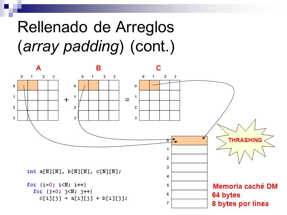 Rellenado de Arreglos (array padding) (cont.) Memoria caché DM 64 bytes 8 bytes por línea THRASHING