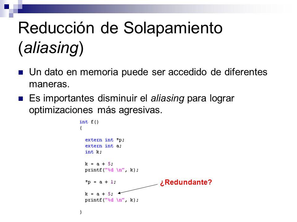 Reducción de Solapamiento (aliasing) Un dato en memoria puede ser accedido de diferentes maneras. Es importantes disminuir el aliasing para lograr opt