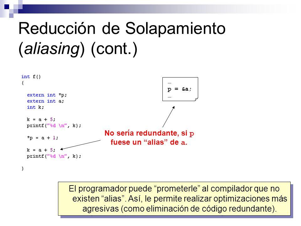 Reducción de Solapamiento (aliasing) (cont.) No sería redundante, si p fuese un alias de a. … p = &a; … El programador puede prometerle al compilador