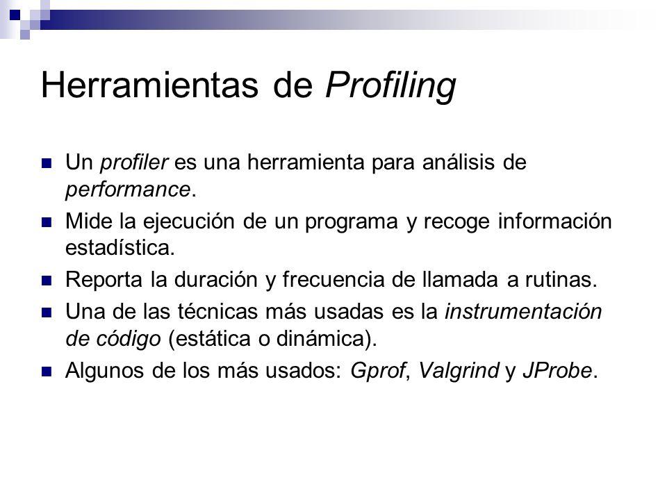 Herramientas de Profiling Un profiler es una herramienta para análisis de performance. Mide la ejecución de un programa y recoge información estadísti