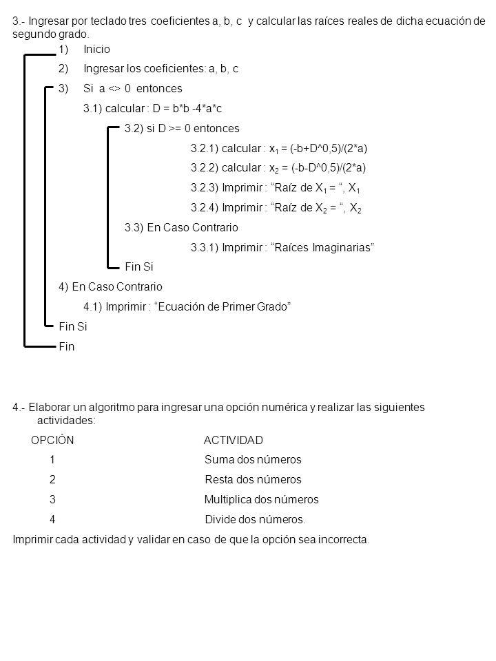 1)Inicio 2)Ingresar los coeficientes: a, b, c 3)Si a <> 0 entonces 3.1) calcular : D = b*b -4*a*c 3.2) si D >= 0 entonces 3.2.1) calcular : x 1 = (-b+