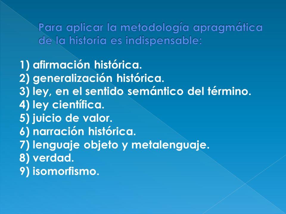 1) afirmación histórica. 2) generalización histórica. 3) ley, en el sentido semántico del término. 4) ley científica. 5) juicio de valor. 6) narración
