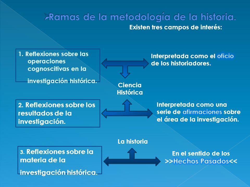 Existen tres campos de interés: 1. Reflexiones sobre las operaciones cognoscitivas en la investigación histórica. 2. Reflexiones sobre los resultados