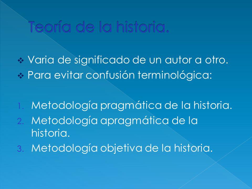 Varia de significado de un autor a otro. Para evitar confusión terminológica: 1. Metodología pragmática de la historia. 2. Metodología apragmática de