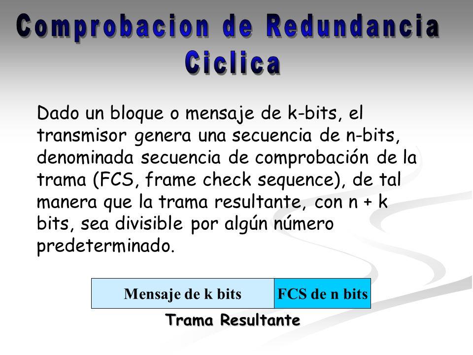 Dado un bloque o mensaje de k-bits, el transmisor genera una secuencia de n-bits, denominada secuencia de comprobación de la trama (FCS, frame check s