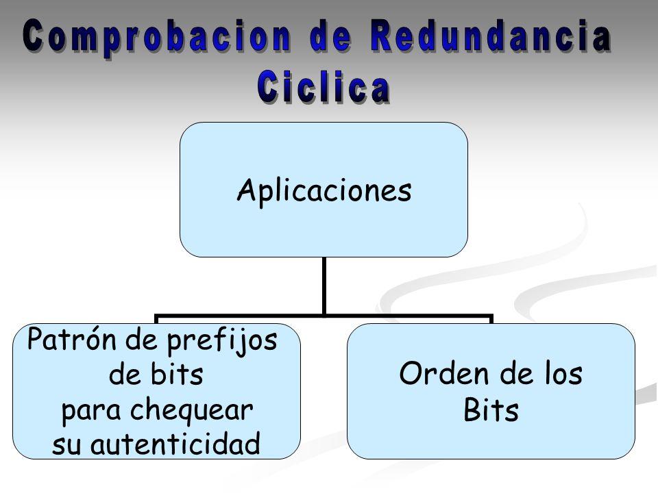 Aplicaciones Patrón de prefijos de bits para chequear su autenticidad Orden de los Bits