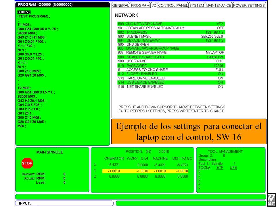 Ejemplo de los settings para conectar una laptop a el control Conexión de Laptop