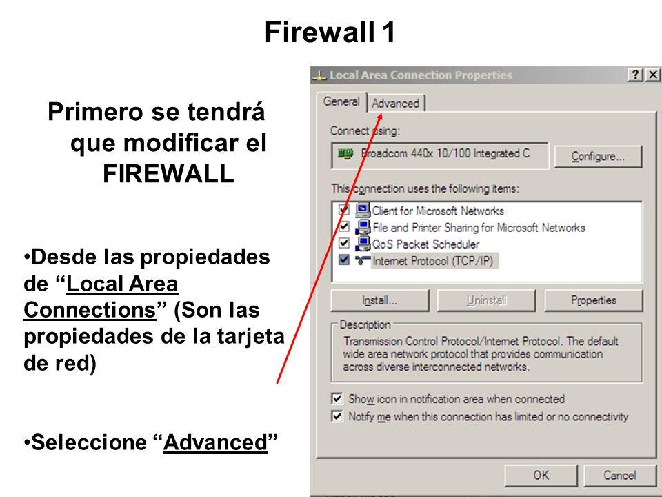 Preparar la Laptop (Win XP) Nota: No olvide el CROSSOVER CABLE
