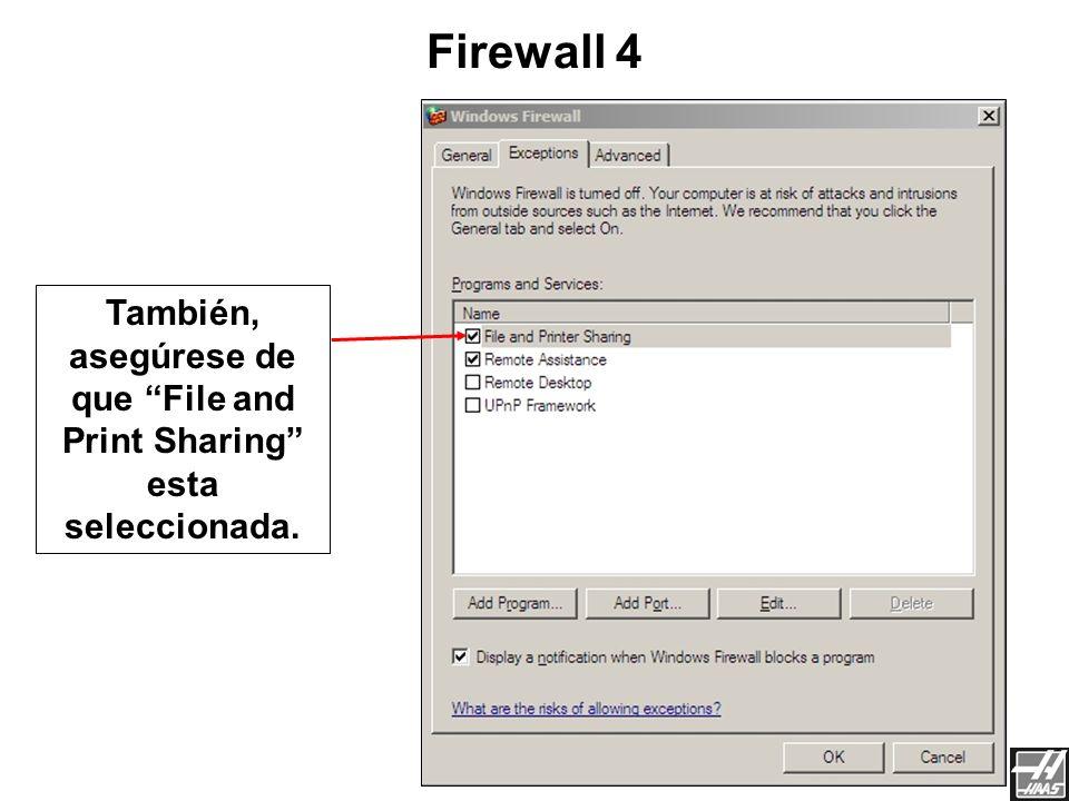 Aquí se apaga el FIREWALL, Si no se puede apagar el FIREWALL, asegúrese de que esta opción no esta prendida. Firewall 3