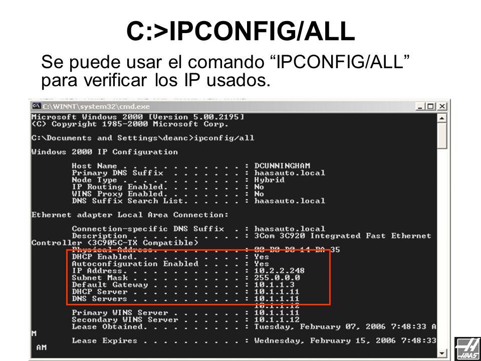 Para hacer PING a el control desde otra computadora en la red. Solamente trabaja con un IP estático. Usando el Ping