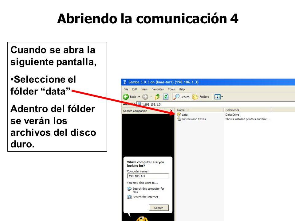Abriendo la comunicación 3 Después, en la sección Computer name Escriba el IP de la CNC Seleccione el botón Search Al acabar la búsqueda, se mostraran