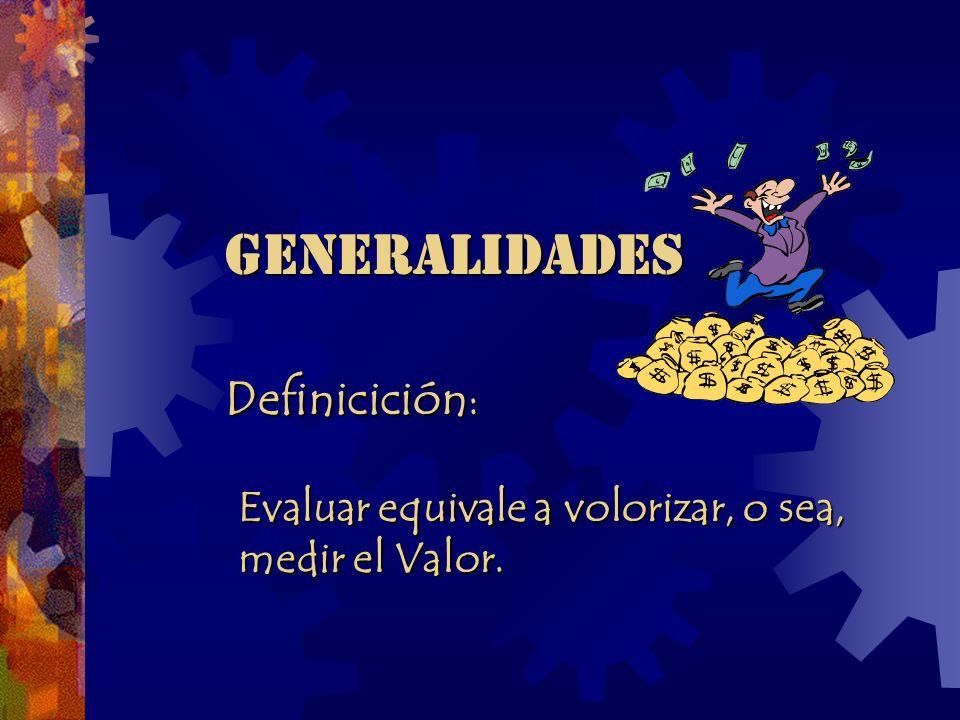 GENERALIDADES GENERALIDADES Definicición : Definicición : Evaluar equivale a volorizar, o sea, Evaluar equivale a volorizar, o sea, medir el Valor.