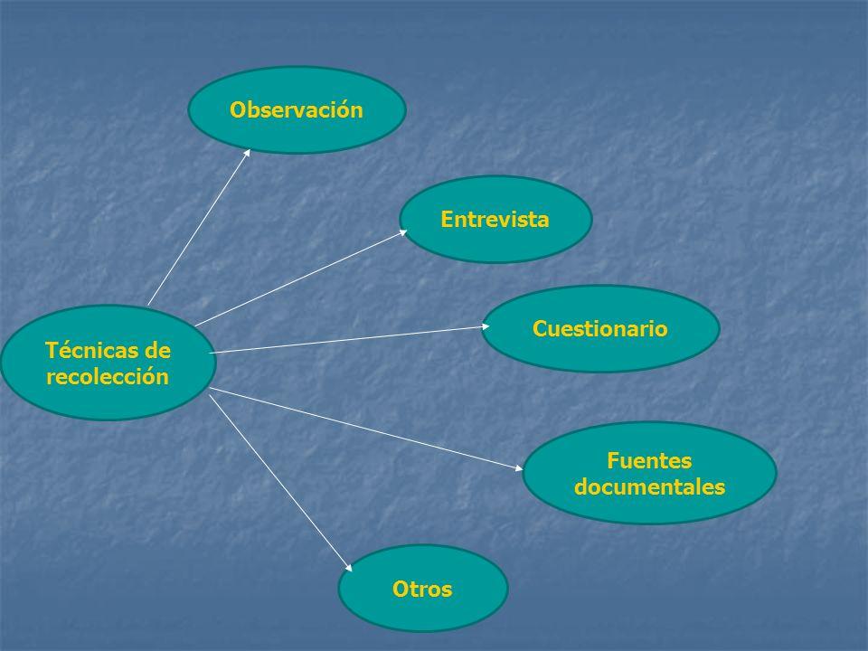 Técnicas de recolección Observación Entrevista Cuestionario Fuentes documentales Otros