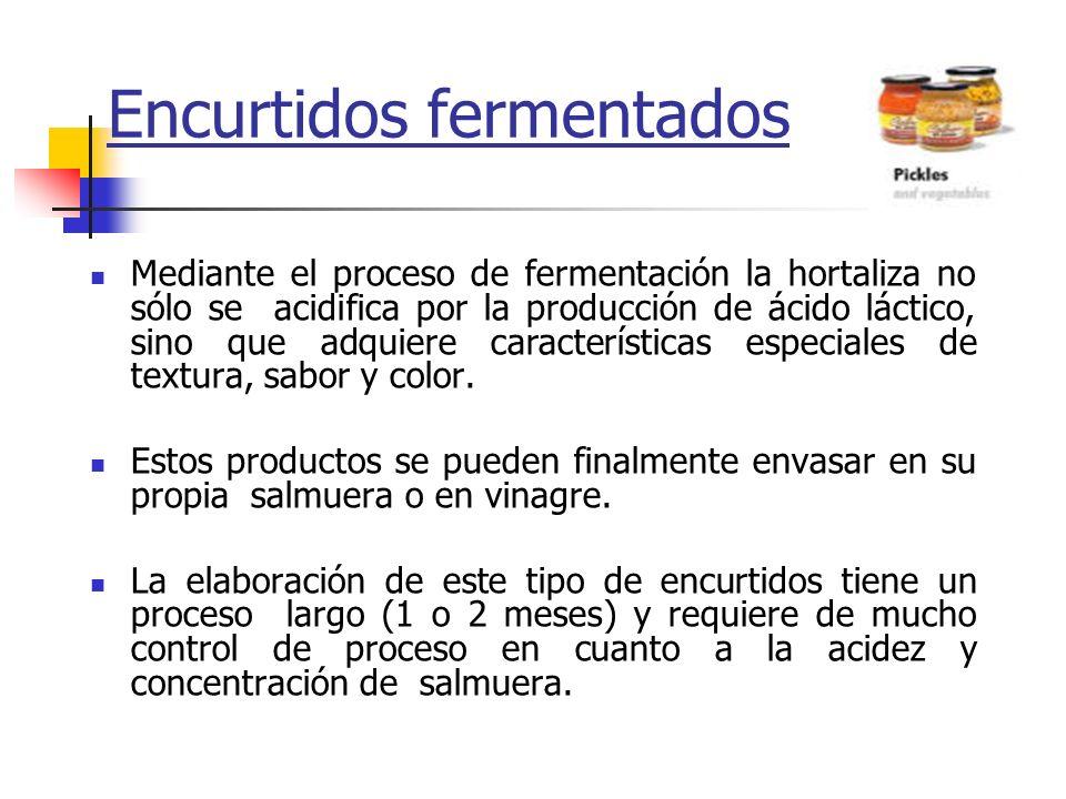 Encurtidos fermentados Mediante el proceso de fermentación la hortaliza no sólo se acidifica por la producción de ácido láctico, sino que adquiere car