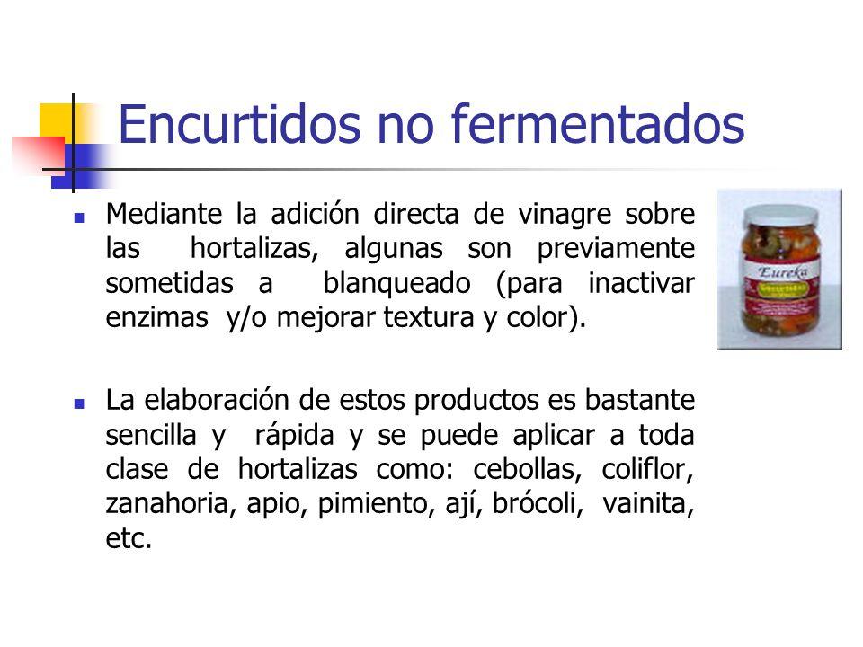 Encurtidos no fermentados Mediante la adición directa de vinagre sobre las hortalizas, algunas son previamente sometidas a blanqueado (para inactivar