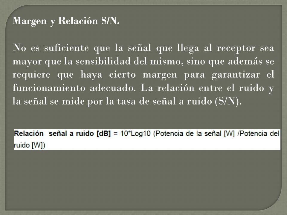 Margen y Relación S/N. No es suficiente que la señal que llega al receptor sea mayor que la sensibilidad del mismo, sino que además se requiere que ha
