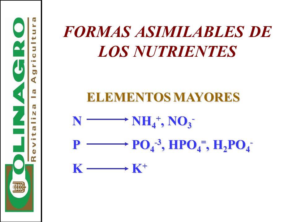 FORMAS ASIMILABLES DE LOS NUTRIENTES ELEMENTOS MAYORES NNH 4 +, NO 3 - PPO 4 -3, HPO 4 =, H 2 PO 4 - KK +