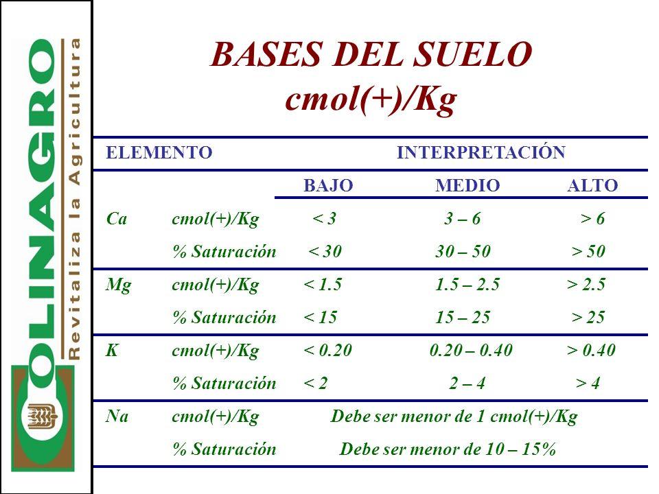 BASES DEL SUELO cmol(+)/Kg ELEMENTO INTERPRETACIÓN BAJOMEDIOALTO Cacmol(+)/Kg 6 % Saturación 50 Mgcmol(+)/Kg 2.5 % Saturación 25 Kcmol(+)/Kg 0.40 % Sa