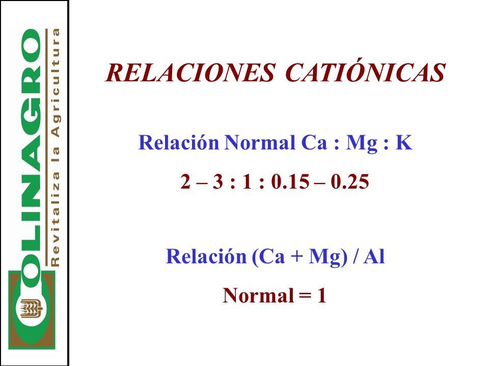 RELACIONES CATIÓNICAS Relación Normal Ca : Mg : K 2 – 3 : 1 : 0.15 – 0.25 Relación (Ca + Mg) / Al Normal = 1