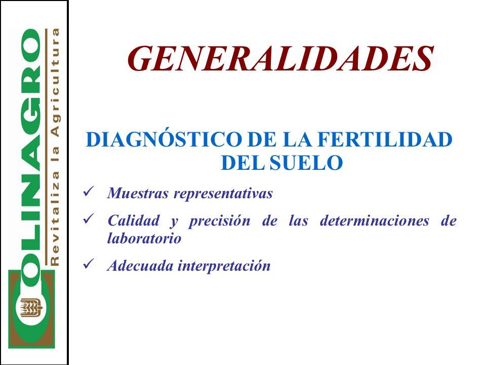 GENERALIDADES DIAGNÓSTICO DE LA FERTILIDAD DEL SUELO Muestras representativas Calidad y precisión de las determinaciones de laboratorio Adecuada inter