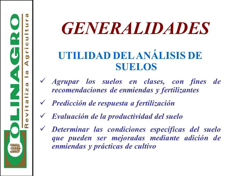 GENERALIDADES UTILIDAD DEL ANÁLISIS DE SUELOS Agrupar los suelos en clases, con fines de recomendaciones de enmiendas y fertilizantes Predicción de re