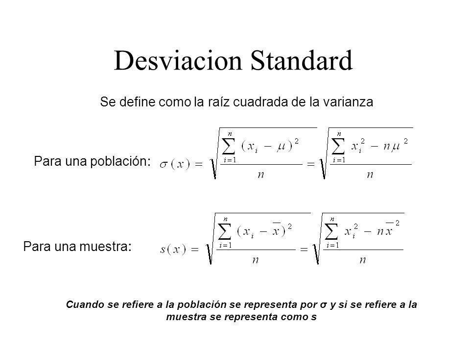 Se define como la raíz cuadrada de la varianza Desviacion Standard Cuando se refiere a la población se representa por σ y si se refiere a la muestra s