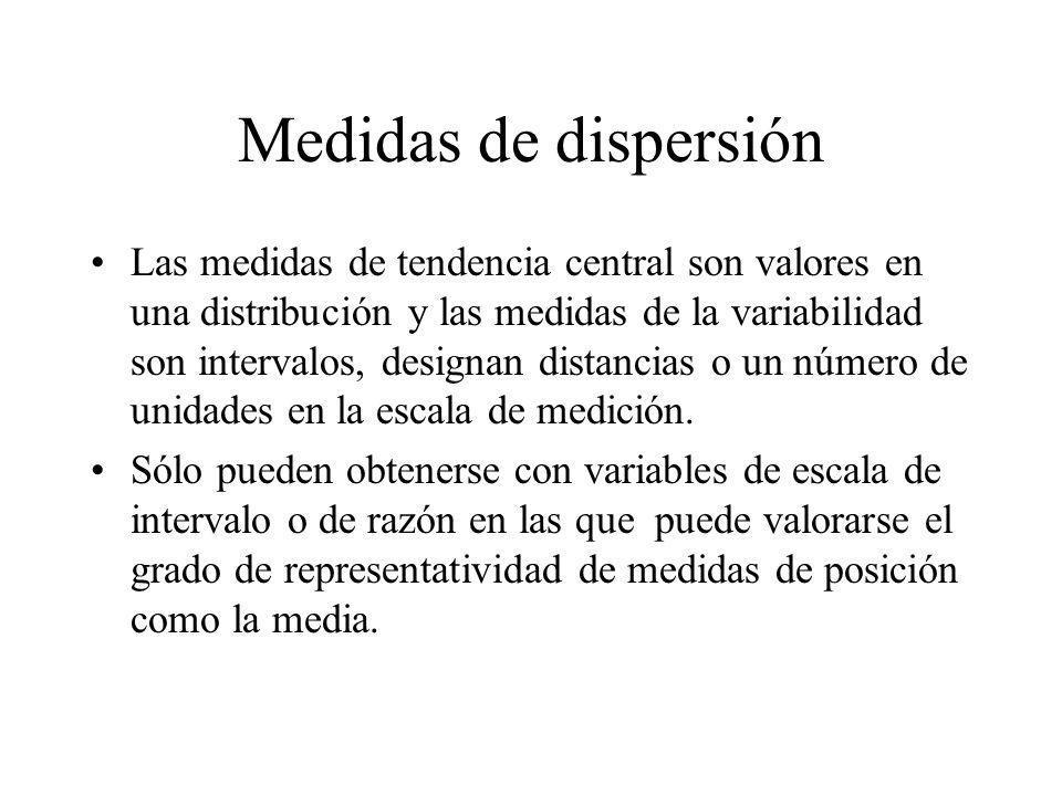 Medidas de dispersión Las medidas de tendencia central son valores en una distribución y las medidas de la variabilidad son intervalos, designan dista