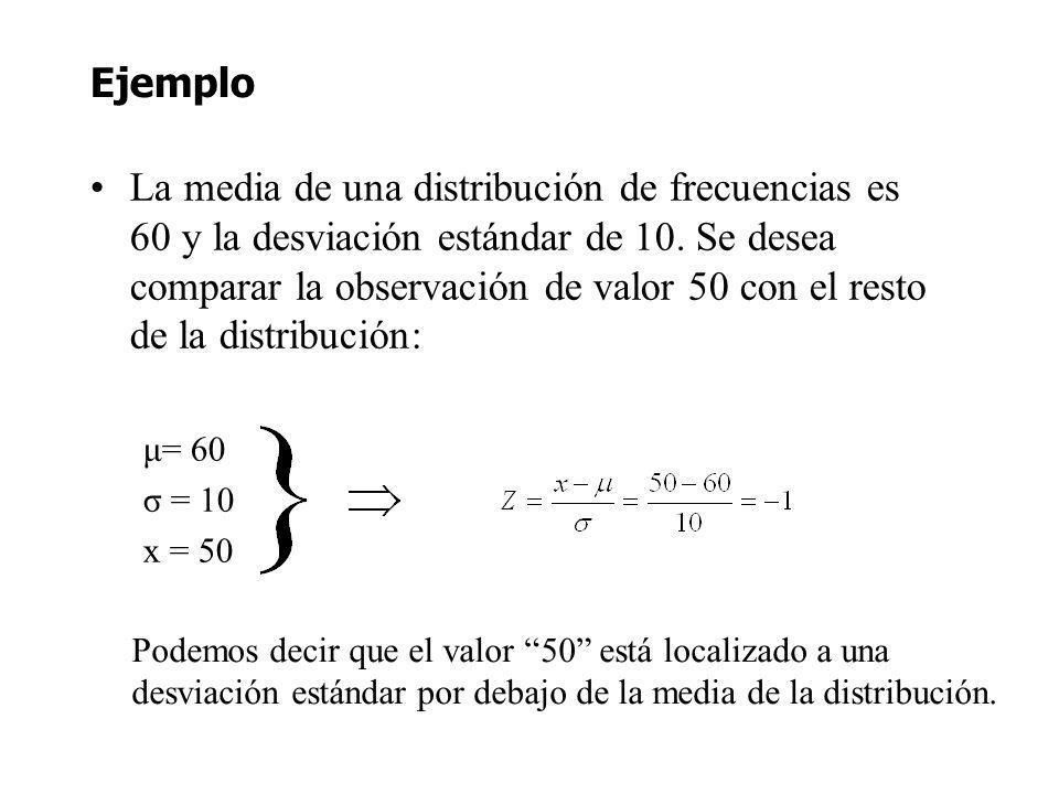 Ejemplo La media de una distribución de frecuencias es 60 y la desviación estándar de 10. Se desea comparar la observación de valor 50 con el resto de