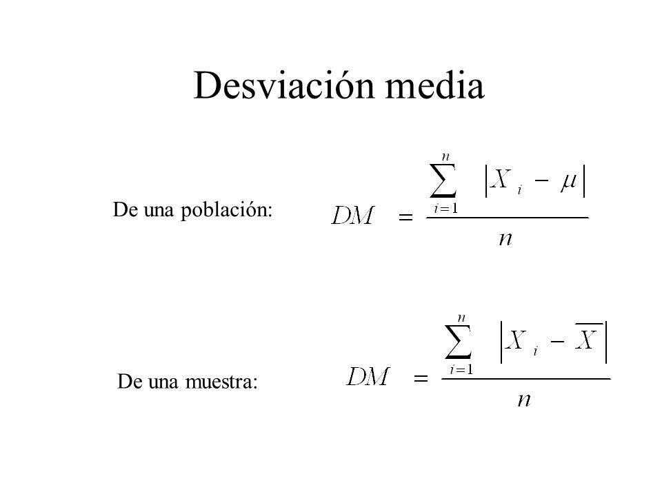 8 DESVIACION MEDIA Desviación media De una muestra: De una población: