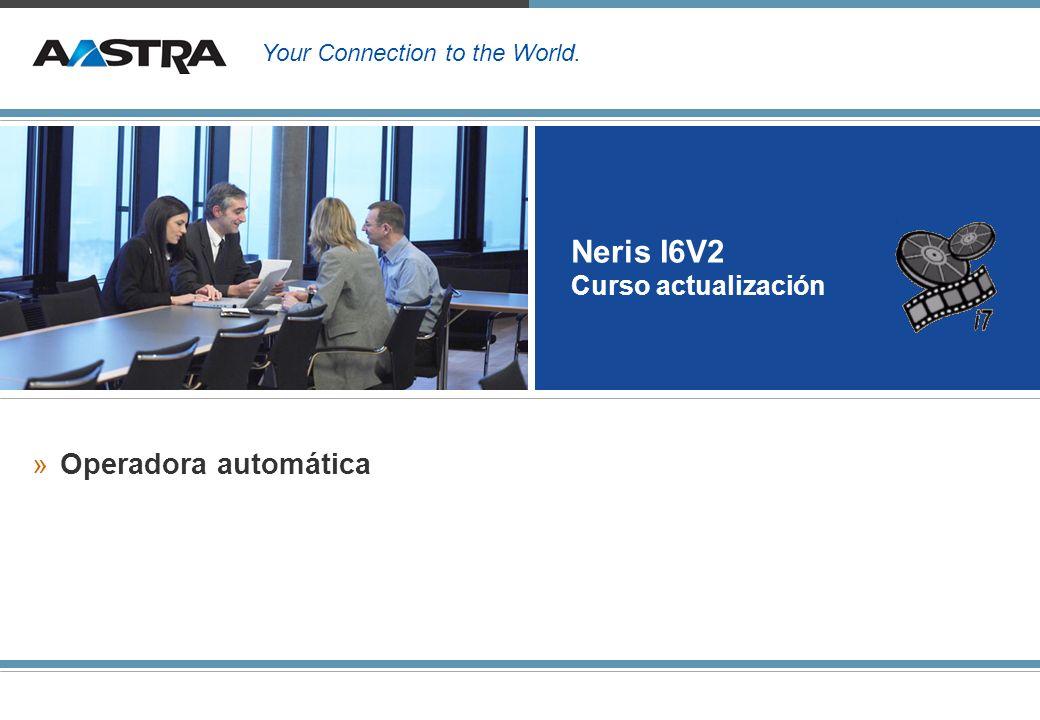 Neris I6V2 Mensajería vocal y operadora 12 Configuración de las funciones de operadora automática »Condiciones previas: –Tener disponible la licencia VM –Tiene que haber un buzón asignado a una extensión –Tiene que haber grabado un saludo personal.