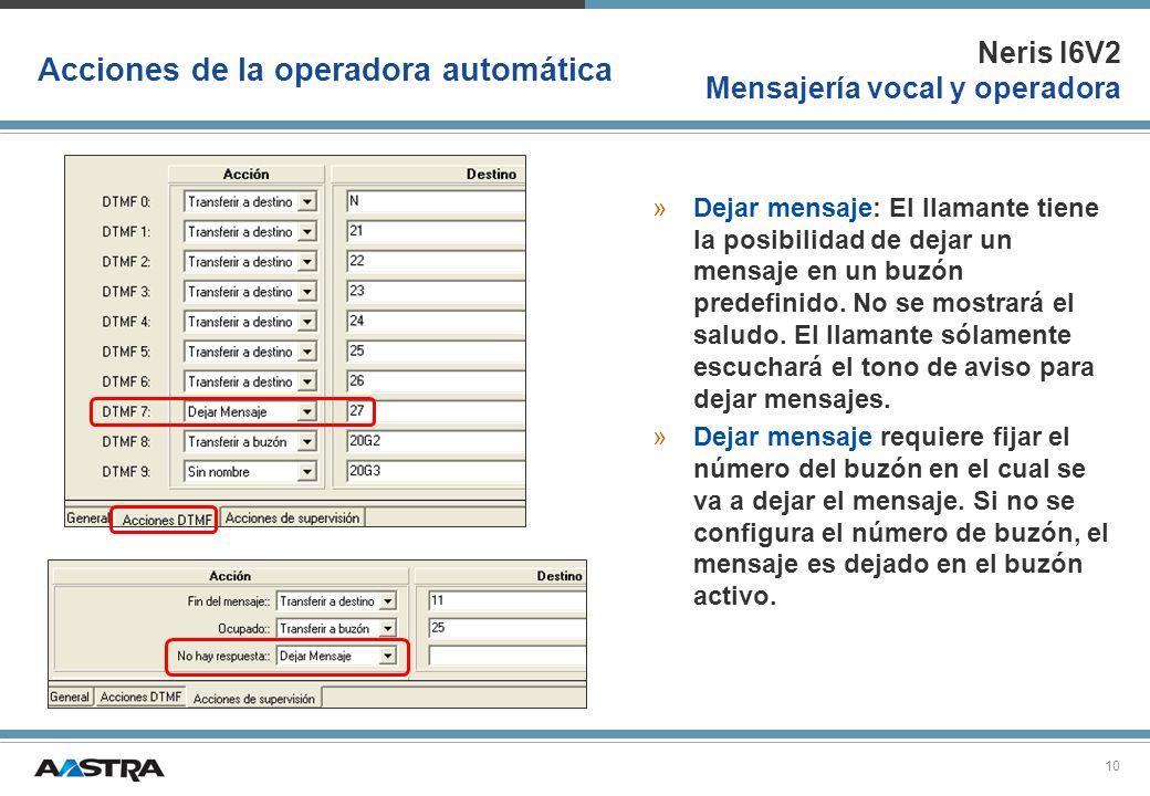 Neris I6V2 Mensajería vocal y operadora 10 Acciones de la operadora automática »Dejar mensaje: El llamante tiene la posibilidad de dejar un mensaje en