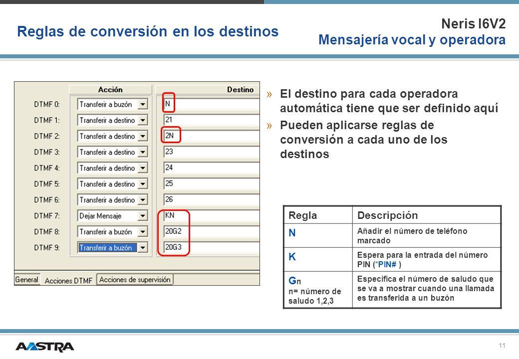 Neris I6V2 Mensajería vocal y operadora 11 Reglas de conversión en los destinos »El destino para cada operadora automática tiene que ser definido aquí