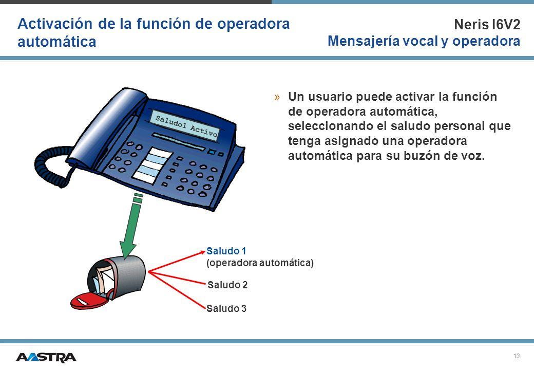 Neris I6V2 Mensajería vocal y operadora 13 Activación de la función de operadora automática »Un usuario puede activar la función de operadora automáti