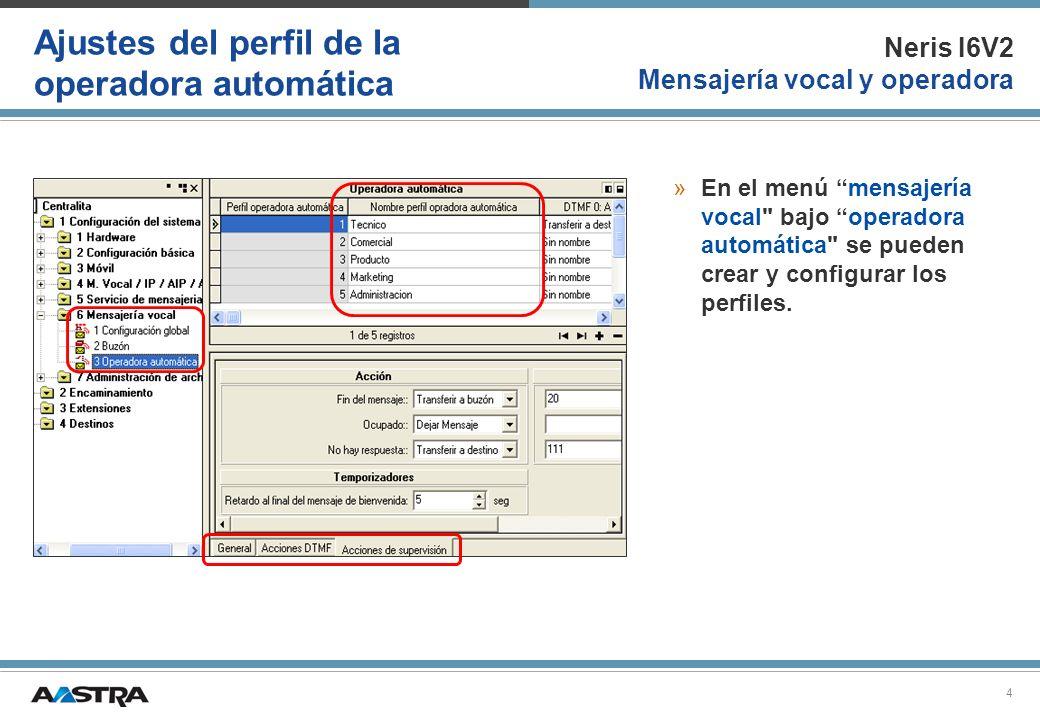 Neris I6V2 Mensajería vocal y operadora 5 Acciones de la operadora automática »En los perfiles de la operadora automática se puede crear una acción predefinida para cada número de marcaciónI DTMF.