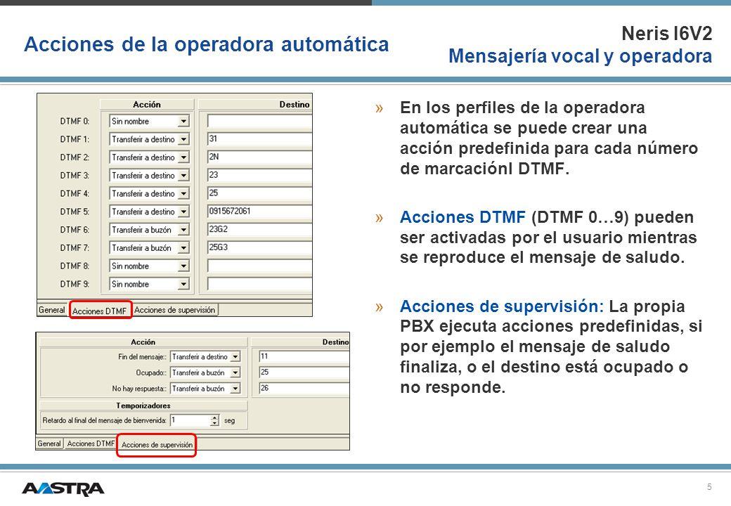 Neris I6V2 Mensajería vocal y operadora 6 Destinos de la operadora automatica Están disponibles los siguientes destinos: »Número de estensión »Número de grupo de extensiones »Número de destino externo »Números de llamada EDL ó extensiones RPSI »Transferir a un buzón (al propio ó a otro buzón, con saludo 1,2,3) »Dejar un mensaje (en el propio ó a otro buzón, no se reproduce el saludo)
